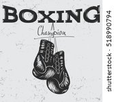 old label with boxing gloves ... | Shutterstock .eps vector #518990794