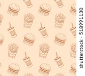 burger fast food vector pattern | Shutterstock .eps vector #518991130