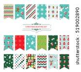 christmas festive bunting flags ... | Shutterstock .eps vector #519002890