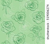 green pattern with roses  ... | Shutterstock . vector #519006274