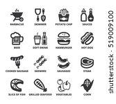 set of black flat symbols about ... | Shutterstock .eps vector #519009100
