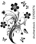 floral ornament with butterfly  ...   Shutterstock .eps vector #51900976