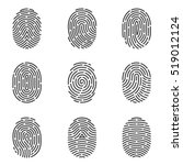 nine grey fingerprint types... | Shutterstock .eps vector #519012124