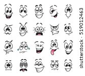 Cartoon faces expressions vector set