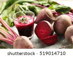 fresh beets juice in glass on a ...   Shutterstock . vector #519014710