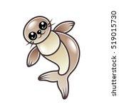 cute cartoon seal isolated on...