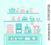illustration of home appliances ... | Shutterstock .eps vector #519018538