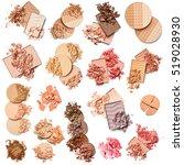 set of eye shadow  face powder... | Shutterstock . vector #519028930