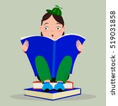 the child reads. boy reads.... | Shutterstock .eps vector #519031858
