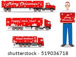 christmas and new year delivery.... | Shutterstock .eps vector #519036718
