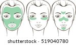 female face with various beauty ... | Shutterstock .eps vector #519040780