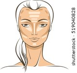 face sculpting with makeup... | Shutterstock .eps vector #519040828