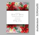 poinsettia wedding invitation...   Shutterstock .eps vector #519041650