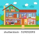 family home interior flat... | Shutterstock . vector #519052093