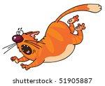 Stock vector running funny orange cat cartoon 51905887