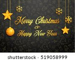 golden christmas greeting card | Shutterstock .eps vector #519058999