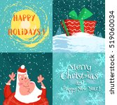 set funny merry christmas card... | Shutterstock .eps vector #519060034