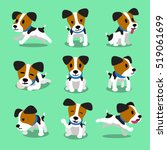 Stock vector cartoon character jack russell terrier dog set 519061699