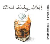 ice falls in whiskey.design of... | Shutterstock .eps vector #519064588