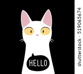 funny white cat with quote... | Shutterstock .eps vector #519065674
