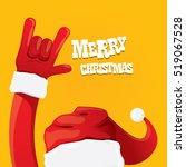 santa claus hand rock n roll... | Shutterstock .eps vector #519067528