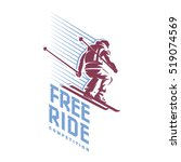 trick of skier. free ride.... | Shutterstock .eps vector #519074569