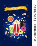 vector flat movie elements with ... | Shutterstock .eps vector #519075580
