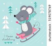 Cute Mouse Sledding Down Vecto...