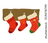 christmas red socks for... | Shutterstock .eps vector #519078799