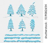 set snow cap on trees. snowy... | Shutterstock .eps vector #519082654