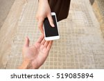 woman with a phone in his hand  ...   Shutterstock . vector #519085894