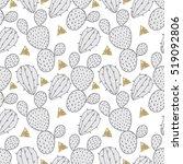 cactus seamless pattern  vector ... | Shutterstock .eps vector #519092806