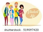 vector set of happy students....   Shutterstock .eps vector #519097420