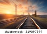 Railroad In Motion At Sunset....