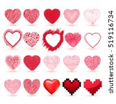 hearts set. hand drawn. vector... | Shutterstock .eps vector #519116734