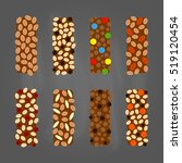 set of flat chocolate granola... | Shutterstock .eps vector #519120454