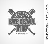 baseball emblem flat icon on... | Shutterstock .eps vector #519126976
