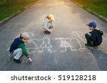 children is drawing happy... | Shutterstock . vector #519128218