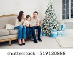cheerful family sitting in the... | Shutterstock . vector #519130888