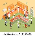 flat isometric restaurant... | Shutterstock .eps vector #519131620