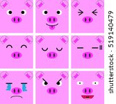 square emotion face of pink pig ... | Shutterstock .eps vector #519140479