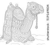 stylized cartoon egyptian camel ... | Shutterstock .eps vector #519169834