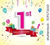 1st years anniversary... | Shutterstock .eps vector #519171610