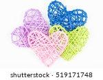 Four Wicker Hearts On Woven...