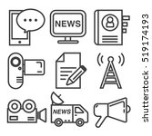 news communication line icons... | Shutterstock .eps vector #519174193