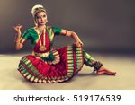 beautiful indian girl dancer in ... | Shutterstock . vector #519176539