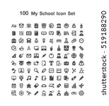 100 my school icon set | Shutterstock .eps vector #519188290
