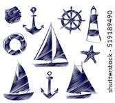 Set Of Different Sailing Ships...