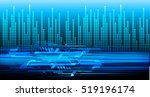 future technology  blue eye... | Shutterstock .eps vector #519196174