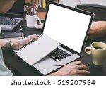 modern office desk with... | Shutterstock . vector #519207934